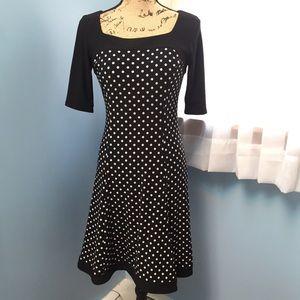 51d56a2f6f5 Chaps Black   White Polka Dot Fit   Flare Dress